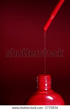 Closeup on a red nail polish