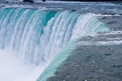 Closeup on canadian side of Niagara falls wonder at spring