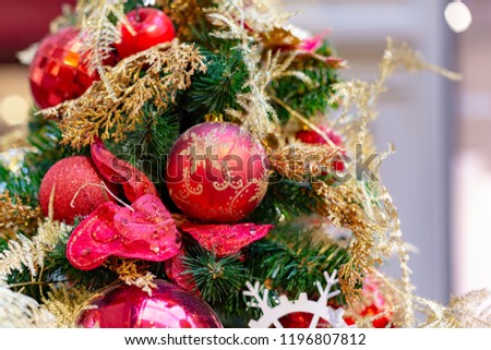 Closeup on Christmas tree decoration over festive background #1196807812