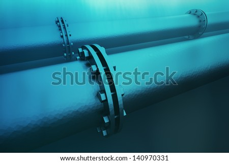 Closeup on details of an underwater pipeline. Pipeline transportation is most common way of transporting goods such as oil, natural gas or water on long distances.