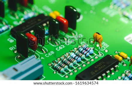 Closeup on Electronic device and electronic board, background image