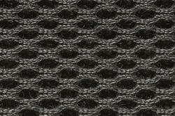 Closeup on fabric. Symmetrical net  texture or wallpaper. Oval, ring shape. Interesting design. Original fabric pattern.  Dark grunge net background. Black and white fibers macro photography.