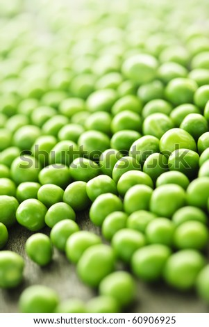 Closeup on fresh green organic green peas