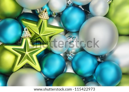 Closeup on glitter star and shiny balls,Christmas decoration.