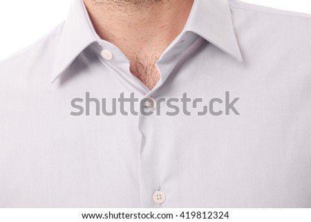 Closeup on male shirt with collar Stock photo ©