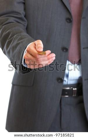 Closeup on man throwing up coin