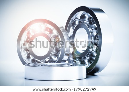 Closeup on stainless steel bearings - isolated on white background - 3d illustration Photo stock ©