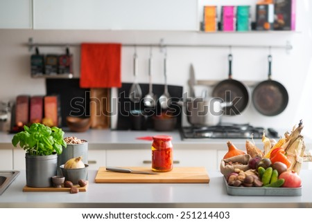 Closeup on table with vegetables in kitchen #251214403