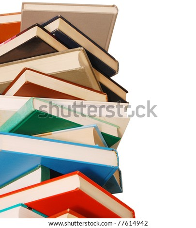 closeup on textbooks pile