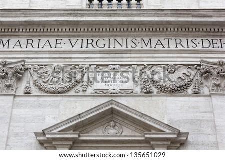 Closeup on the Facade of a 16th Century Church in Rome