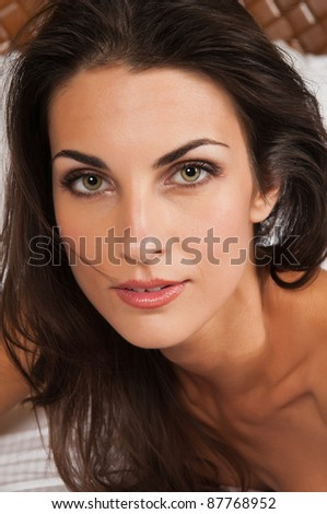 Closeup on the face of a beautiful brunette