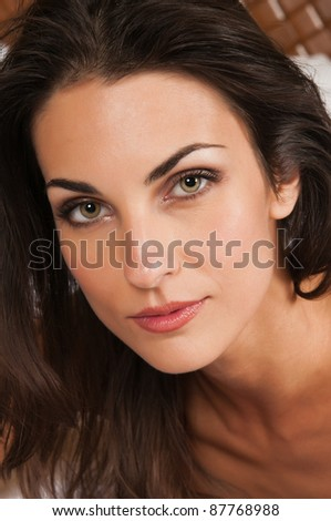 Closeup on the face of a beautiful brunette