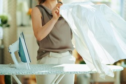 Closeup on woman in silk blouse and beige pants at home in sunny day ironing on ironing board. ironing white shirt