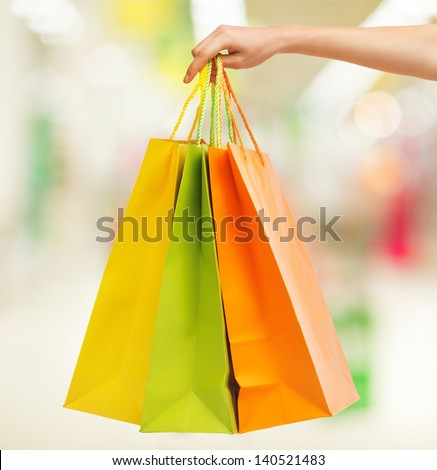 Closeup Or Picture Of Multi Colored Shopping Bags .