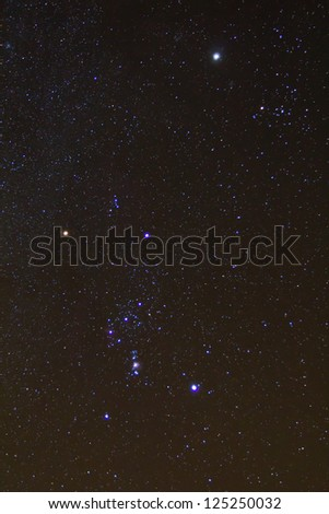 closeup orion constellation on a starry sky background