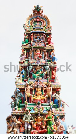 Closeup panorama of Sri Mariamman Hindu Temple roof in Singapore taken with tilt and shift lens