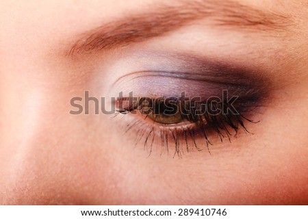 Closeup part of face beautiful female eye with blue violet make-up visage, applying makeup on eyes