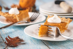 Closeup perspective shot of a slice of pumpkin pie with a fork cutting into it with plates and pie blurred into the background on a rustic blue painted wood table surface.