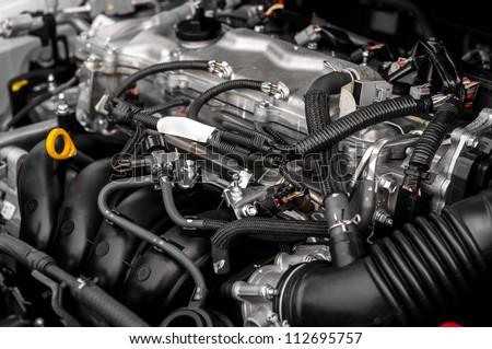 Closeup photo of a clean motor block #112695757