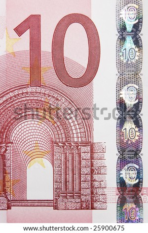 Closeup photo of a part of ten euro note including hologram. Macro photo.
