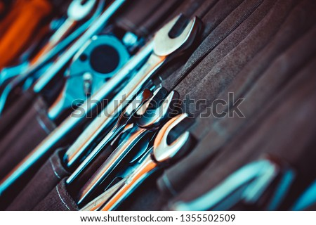 Closeup photo of a set of tools for repair, collection of a different spanners, good tooling for the handyman, best gift for men's day