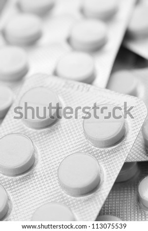 Closeup photo of blister of pills
