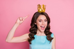 Closeup photo of charming lady festive event prom party recognized as prom queen direct finger head golden crown nomination status wear blue teal dress isolated pink color background