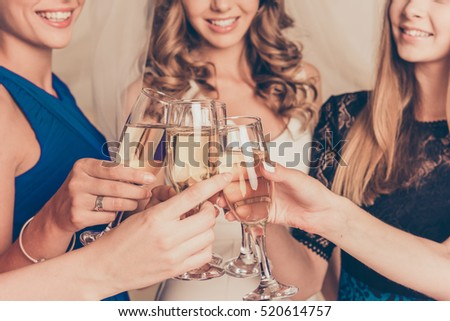 Closeup photo of cheerful girls celebrating a bachelorette party.