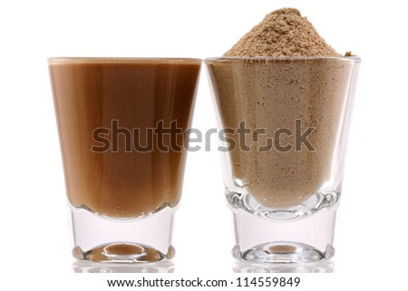 Closeup photo of fine Protein Powder with Chocolate Flavor and Mixed with Water