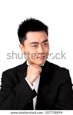 Closeup photo of Isolation photo of Chinese man in suite