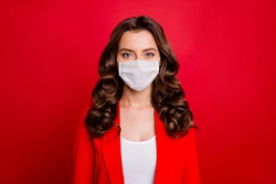 Closeup photo of pretty charming business lady workaholic company seo work in spite of quarantine wear formalwear jacket suit protective mask isolated red background