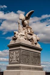 Closeup Photo of The 88th Pennsylvania Volunteer Infantry Monument, Oak Ridge, Gettysburg National Military Park, Pennsylvania, USA
