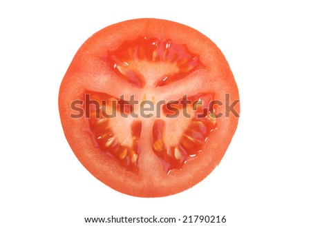 Closeup photo of tomato isolated over white background