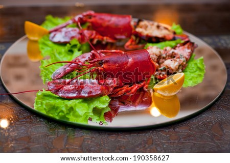Closeup picture lobster dish plate, fresh Japanese restaurant seafood, tasty asian sea food. Traditional oriental gourmet, cuisine kitchen, diet, culture