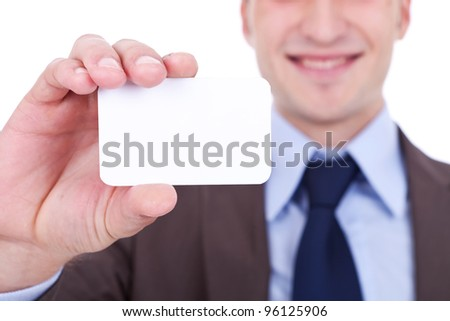 closeup picture of a business man holding a blank card in his hand on white background
