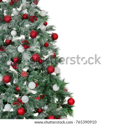 Shutterstock Closeup picture of a Christmas tree with red and white decorations ioslated on white