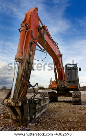 Closeup picture of a shovel from a bulldozer
