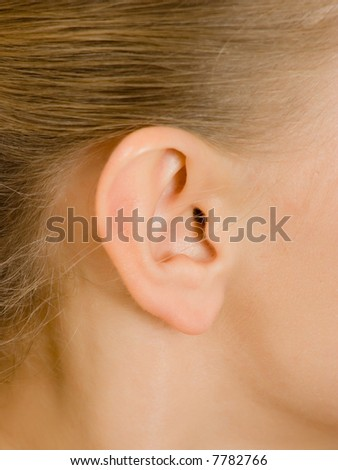 closeup picture of  lady ear