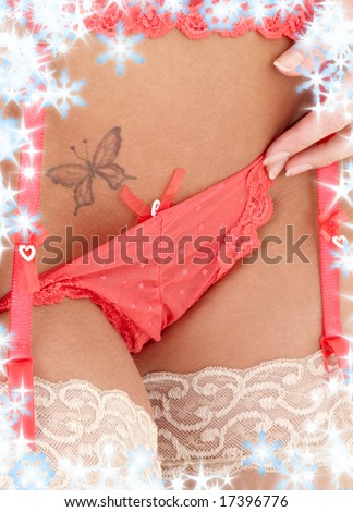 closeup picture of pink lingerie girl with butterfly tattoo