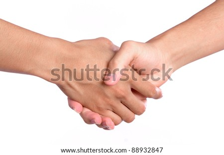 Closeup picture of  shaking hands on white background