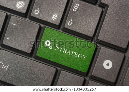 Closeup picture of Strategy button of a modern keyboard to mean a concept to mean a concept