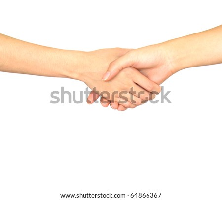 Closeup picture of woman shaking hands isolated on white background.