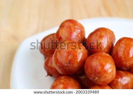 Closeup Pile of Delectable Northeastern Thai Sausages Called Sai krok Isan Zdjęcia stock ©