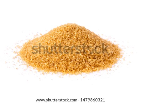 Closeup pile of granulated brown sugar  isolated on white background. Unhealthy diet ,awareness and stop diabetes concept.