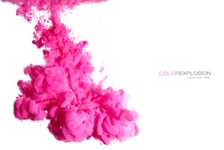 Closeup pink acrylic ink in water. Abstract background. Color explosion isolated on white with copy space