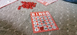 closeup playing game bingo to tech a kid number the basic of maths for kingdergarden