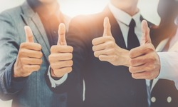 closeup portrait Businessman team showing many thumbs up expressing positivity Concept Successful teamwork and cooperation Purposiveness Same intention Organization