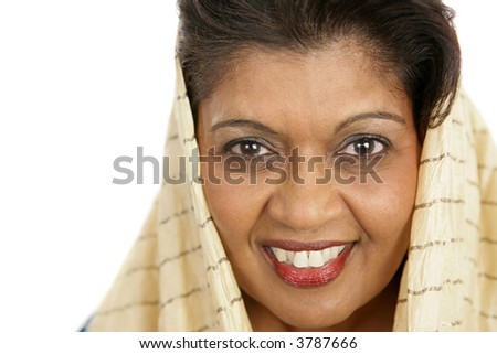 stock photo : Closeup portrait of a beautiful mature Indian woman.