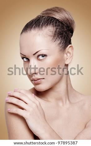 closeup portrait of a beautiful young fashion model