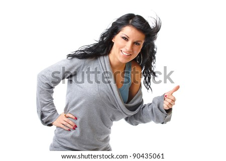 Closeup portrait of a beautiful young girl showing thumb up sign